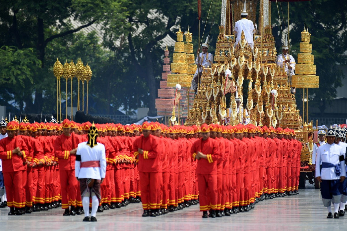 The Royal Urn is carried in the Royal Chariot during the funeral procession for the late Thai king Bhumibol Adulyadej in Bangkok on October 26, 2017.