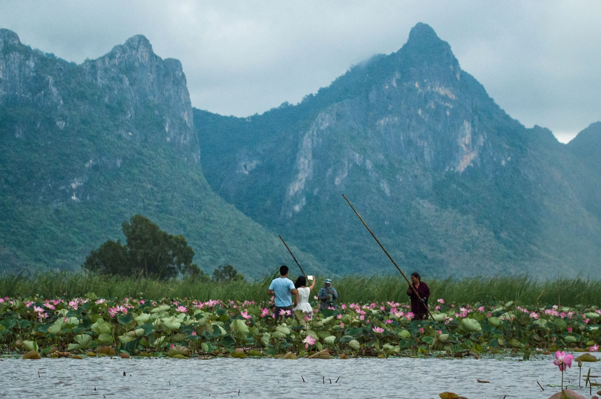 In this photograph taken on May 5, 2017, local tourist guides take tourists for canoe rides on a lake in the Khao Sam Roi Yot national park in southern Thailand.