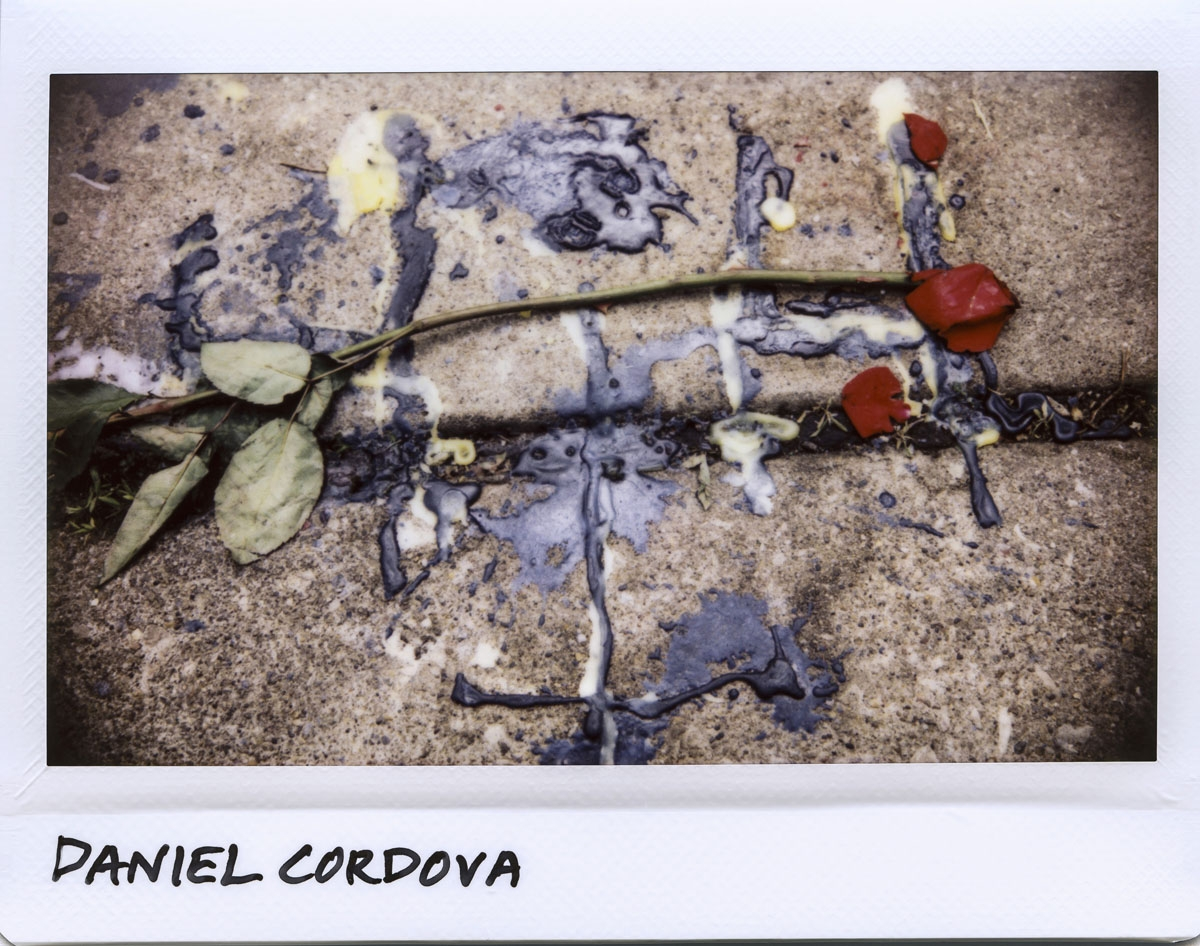A rose and melted wax from candles used at a vigil for Daniel Cordova, 26-year-old, in the 2500 block of West 46th Place in Chicago, Ilinois on May 8, 2017.  Cordova, was found dead at the scene on May 7, 2017, and died of multiple gunshot wounds.