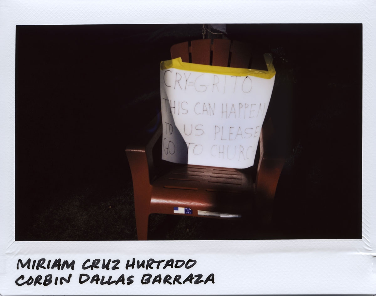 A sign is placed on a chair for the memory of Miriam Cruz Hurtado, 31-years-old, and her son Corbin Dallas Barraza, 4-years-old, in the 1700 block of North Mannheim in Stone Park, Illinois on September 24, 2017.  Hurtado and Barraza were both strangled an