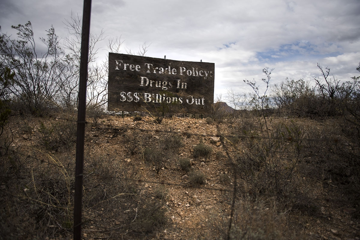 An old sign stands out on the town limits in Douglas, Arizona, February 18, 2017 on the US/Mexico border.