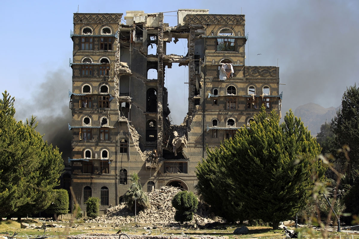 A picture taken on December 5, 2017, shows the damage after a reported air strike carried out by the Saudi-led coalition targeted the presidential palace in Yemen's Huthi rebel-held capital Sanaa.