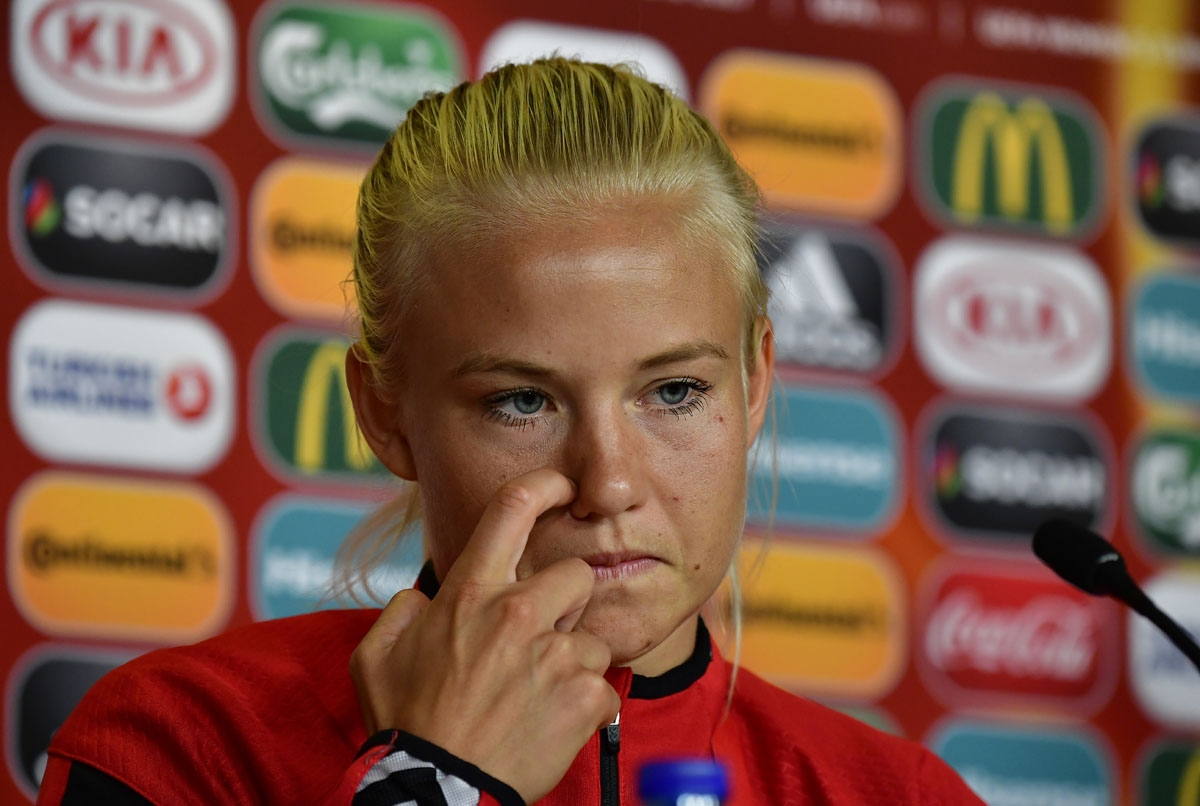 Denmark's forward and captain Pernille Harder attends a press conference on the eve of the UEFA Women's Euro 2017 football match between Denmark and Austria, on August 2, 2017 in Breda.