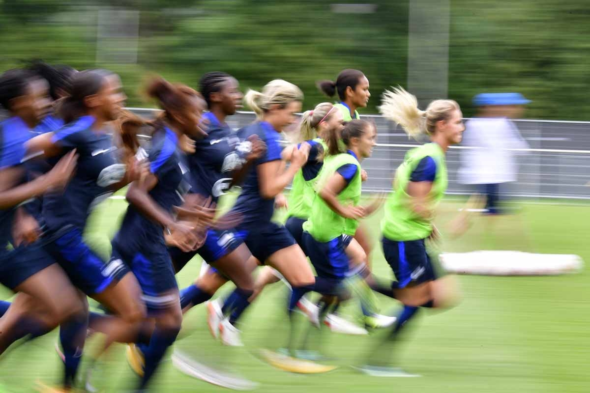 Players of France's national soccer team take part in a training session ahead of the UEFA Women's Euro 2017 football tournament in Zwijndrecht on July 15, 2017.