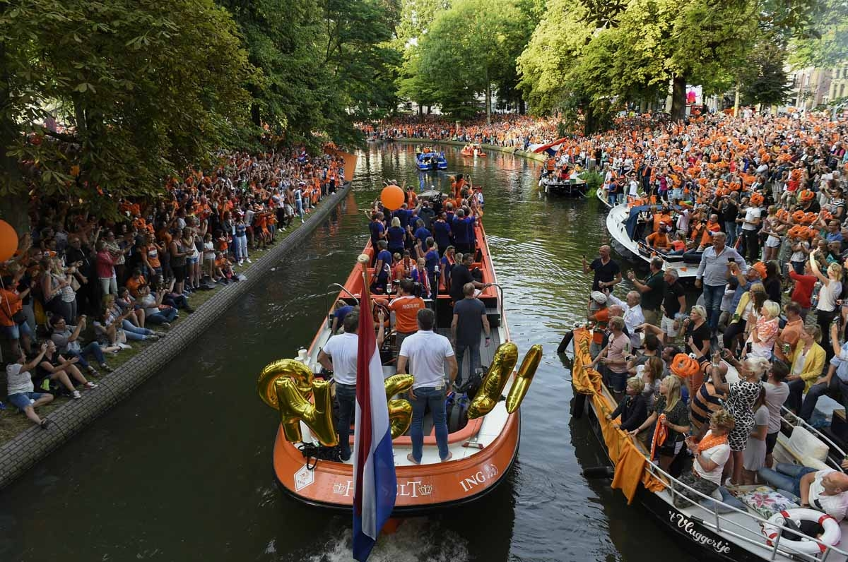 Celebrating the Dutch win in Utrecht on August 7, 2017.