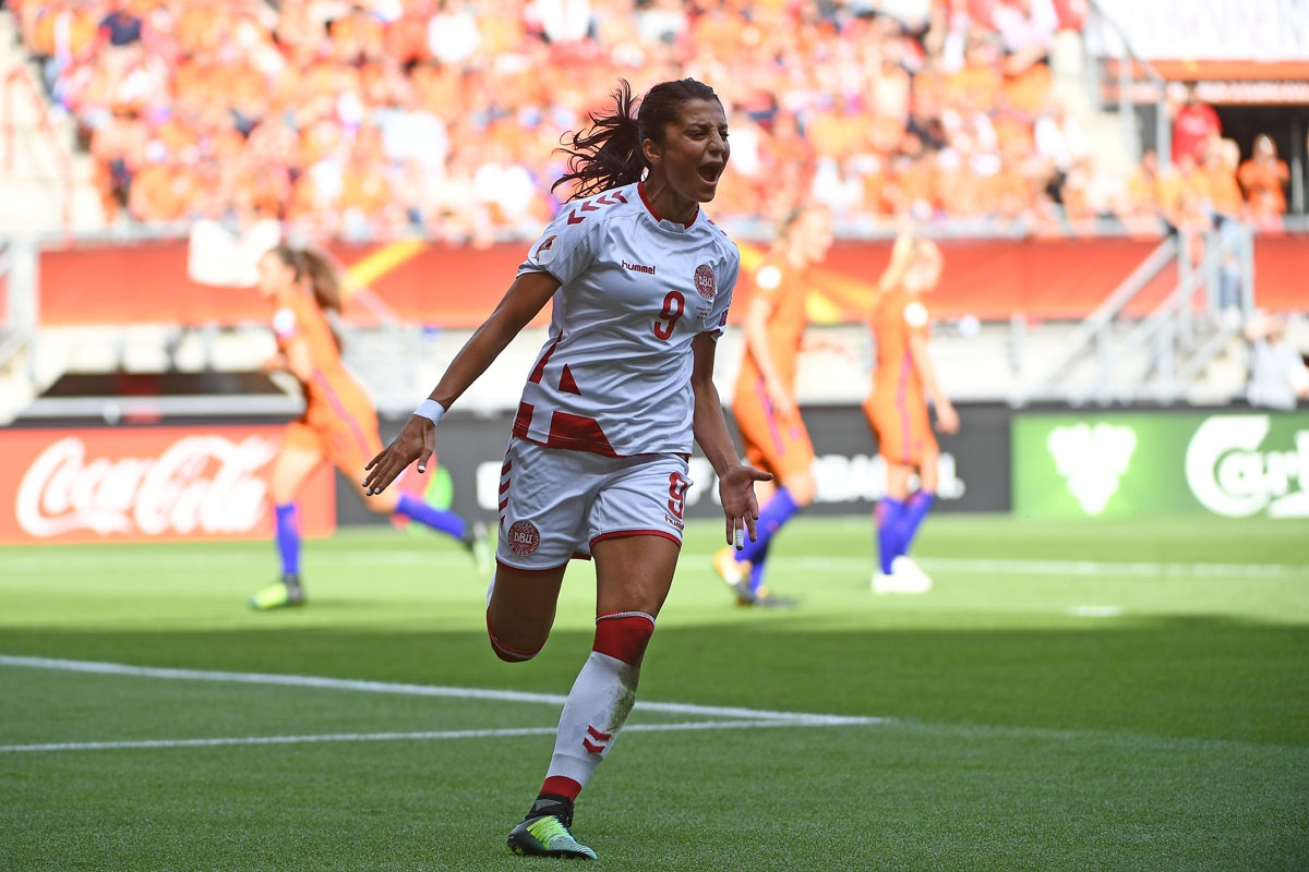 Denmark's forward Nadia Nadim celebrates after scoring a goal during the UEFA Women's Euro 2017 football tournament final match between Netherlands and Denmark at Fc Twente Stadium in Enschede on August 6, 2017