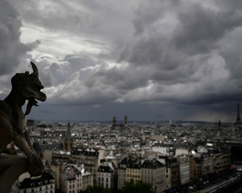 A picture taken on June 28, 2017 shows gargoyles on the roof of Notre-Dame cathedral in Paris, as the monument needs a huge restoration.