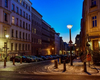 View on January 5, 2017 shows the Fehrbellinerstrasse/Christinenstrasse intersection, in Berlin's Prenzlauer Berg district.