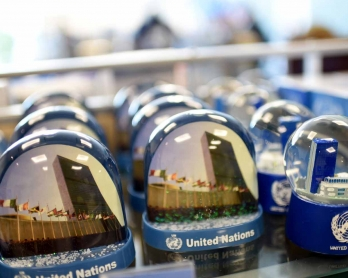UN souvenirs are displayed in a shop at the 71st session of the UN General Assembly in New York on September 21, 2016.