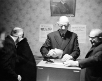 French President Charles de Gaulle casts his ballot as part of the 1965 French presidential election secound round vote in Colombey-les-Deux-Eglises on December 19, 1965.