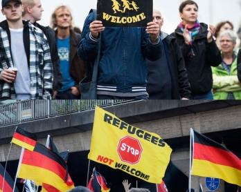 En haut: un contre-manifestant pendant un rassemblement du parti populiste de droite AfD à Berlin le 7 novembre 2015. En bas: manifestation d'extrême-droite à Cologne le 9 janvier 2016
