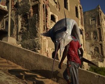 Un homme transporte un espadon dans le quartier de Hamarweyne à Mogadiscio, le 25 mars 2015